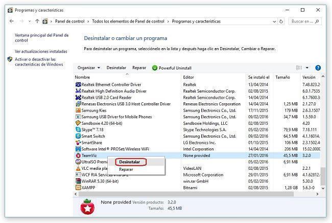 Resultado de imagen de desinstalar programas windows 10